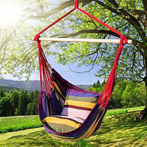 Prime Garden Hanging Rope Hammock Chair Porch Swing Seat for Indoor or Outdoor Spaces- Max. 275 Lbs