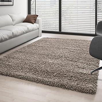 Teppich Hochflor Wohnzimmer Langflor Shaggy Unifarbe Vers. Farben Und  Größen   Taupe, 160x230 Cm