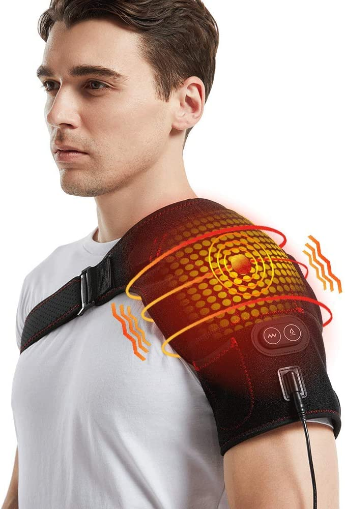 Massaging Heated Shoulder Wrap, 3 Heating Settings Electric Shoulder Heating Pad for Frozen Shoulder Rotator Cuff AC Joint Dislocation, Hot and Cold Therapy Fits Left or Right Shoulder