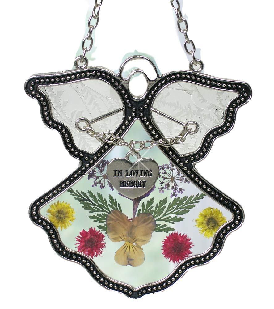 BANBERRY DESIGNS Angel Suncatcher - in Loving Memory Angel - Pressed Flowers Stained Glass Angel with Memorial Heart Charm - in Memory of Loved Ones - Memorial Keepsake
