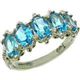 Sterling Silver Ladies 5 Stone Blue Topaz Ring - Finger Sizes L to Z Available