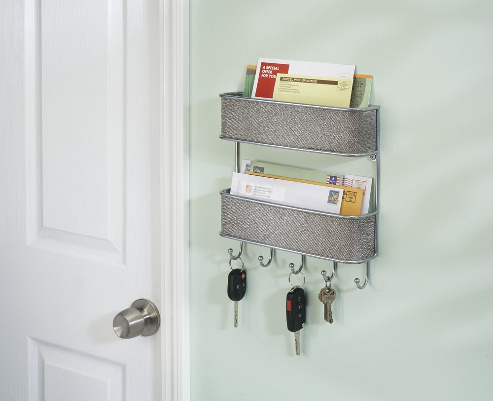 mDesign Mail, Letter Holder, Key Rack Organizer for Entryway, Kitchen - Wall Mount, Metallic by mDesign (Image #1)