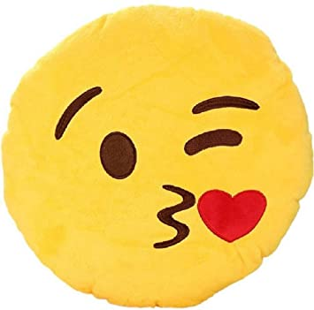Priya Toys Home Collective Smiley Printed Decorative Cushion Pack of Smiley Thick Plush Pillow Round Cushion Pillow Stuffed /Gift for Kids/for Birthday Gift Yellow-1 PCS-18 cm