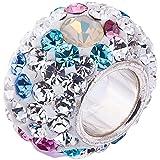 Opal and Swarovski Crystal Charm 10 x 8mm- 925 Sterling Silver. Fits 3mm European Bracelets. GIFT BOX