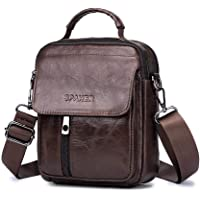 SPAHER Mens Genuine Leather Shoulder Bag Small Phone Bag Wallet Cross Body Purse Leather Pouch Messenger Bag Daypack For Business Casual Sport Hiking Travel
