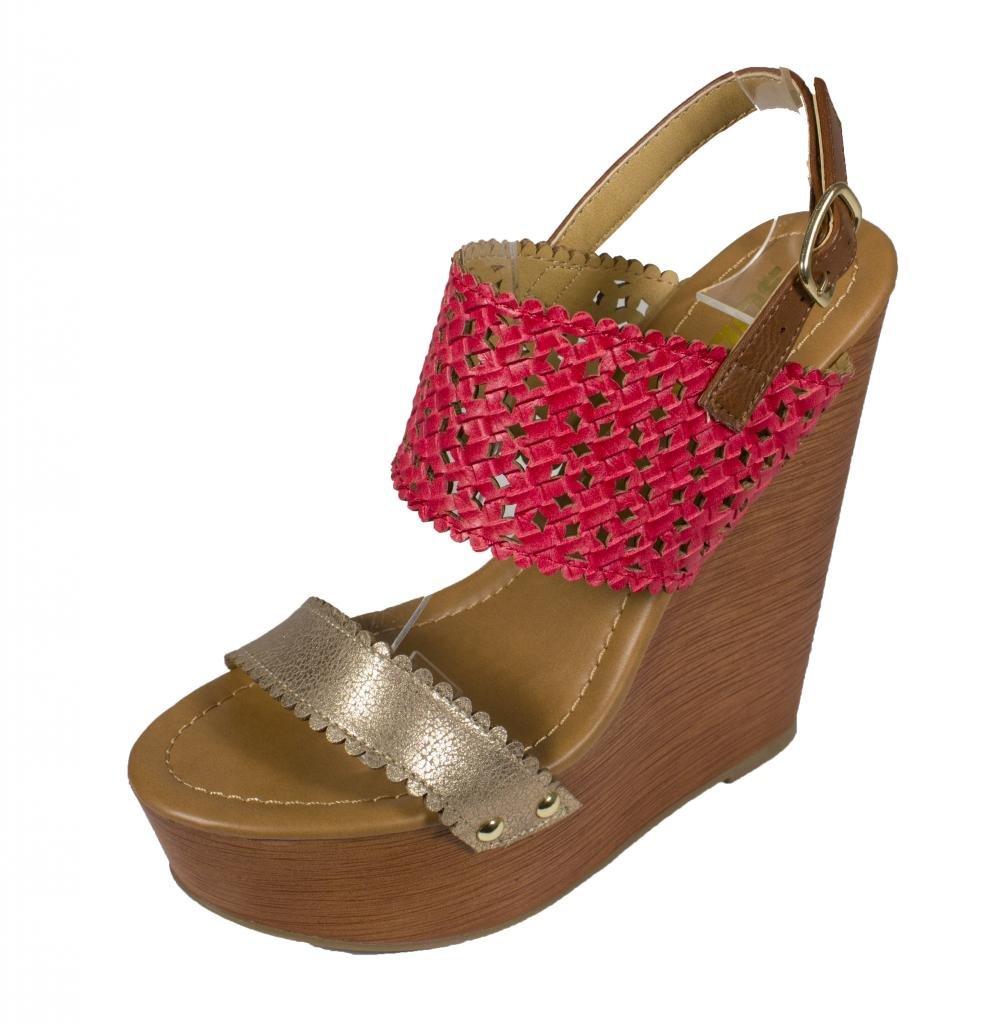 Lustacious Women's Open Toe Cut Out Slingback Wide Strap Platform Faux Wood Wedge Sandals B016LCL8U6 9 B(M) US|Dark Salmon Gold Leatherette