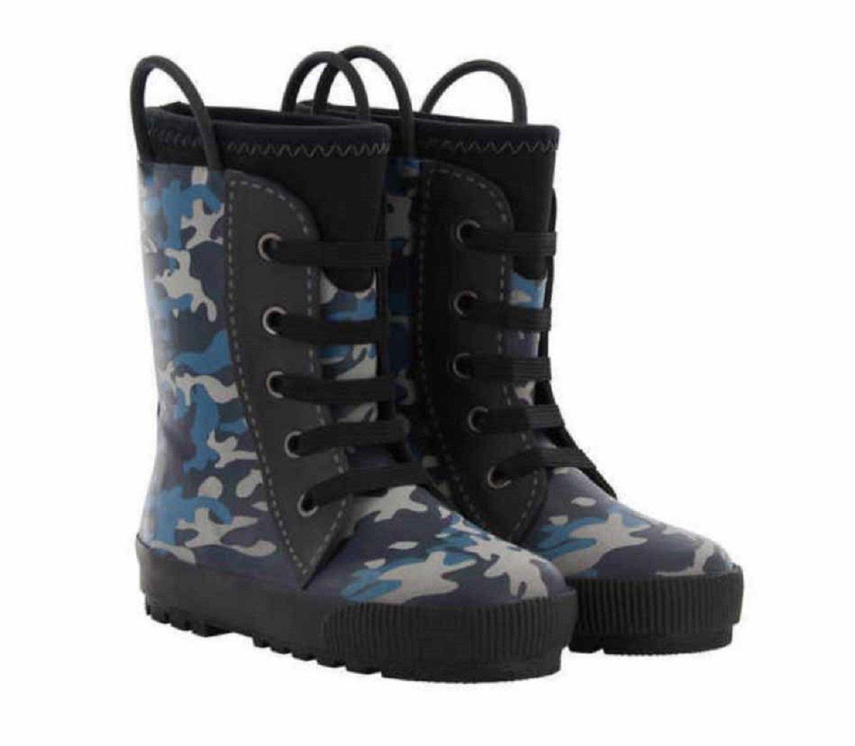 Western Chief Boys Camo Reflective Neoprene Sneaker Rain Boots (11/12, Blue Camo)