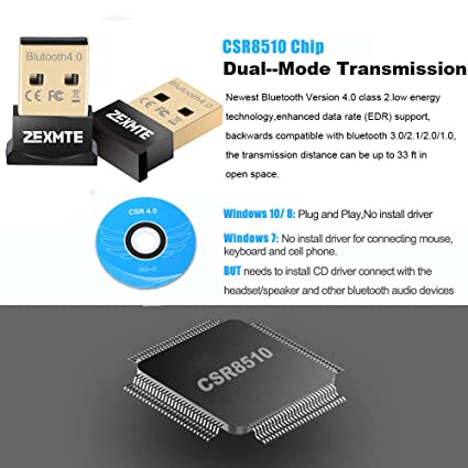 ZEXMTE Bluetooth USB Adapter CSR 4 0 USB Dongle Bluetooth Receiver Transfer  Wireless Adapter for Laptop PC Support Windows 10/8/7/Vista/XP,Mouse and