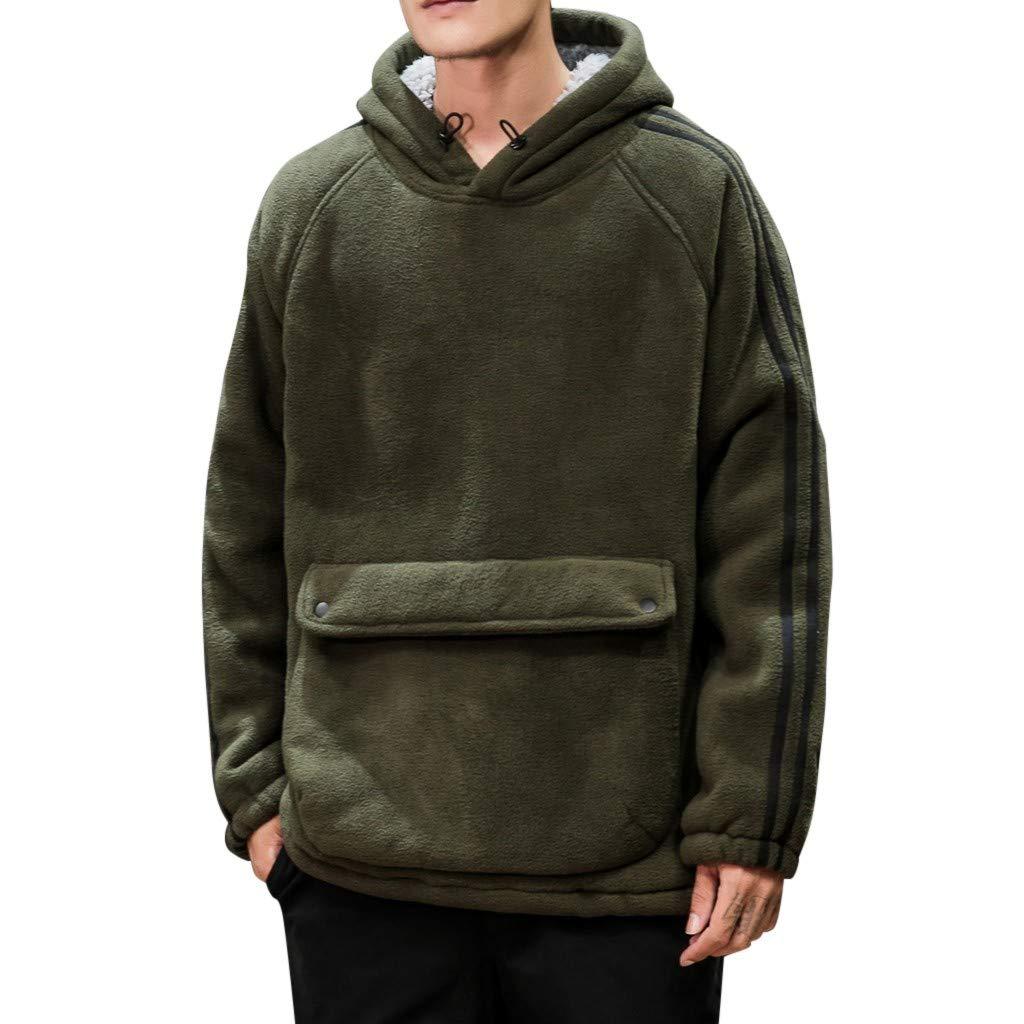 WINJUD Mens Sweatshirt Hooded Fleece Hoodie Winter Warm Thicken Long Sleeve Pullover Top(Army Green,XL) by WINJUD