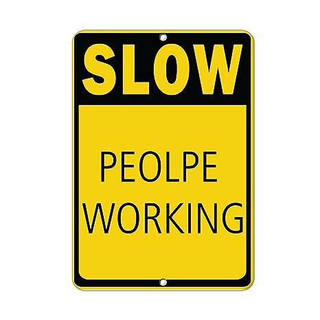 amazon com slow people working hazard sign men at work signs