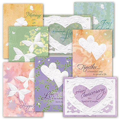 Deluxe Embossed Anniversary Card Value Pack - Set of 16 (8 designs), Large 5