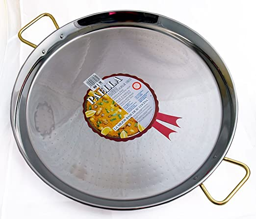 La Ideal Paella sartén de Acero Inoxidable, Plata, 90 cm ...