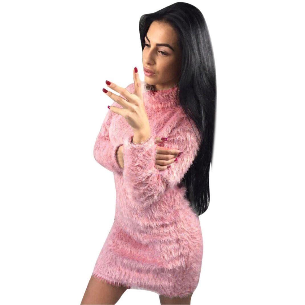 Sumen Women Fold Over Collar Faux Fur Long Sleeve Sweater Bodycon Mini Dresses