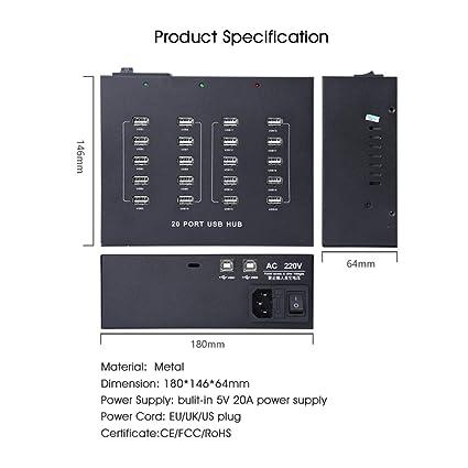 Sipolar A-210 Industrial 20-Port USB 2 0 Desktop Law