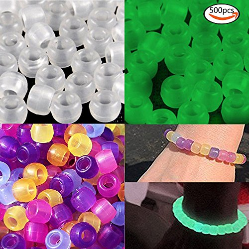Goodlucky 500 Pcs Uv Beads Multi Color Changing Reactive Plastic Beads - Also Glows in the