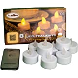 8 Tea Light a Batteria, LED Bianco Caldo, Effetto Fiamma, Telecomando ON/off, Interno, candeline LED, Candele Decorative, luci di Natale