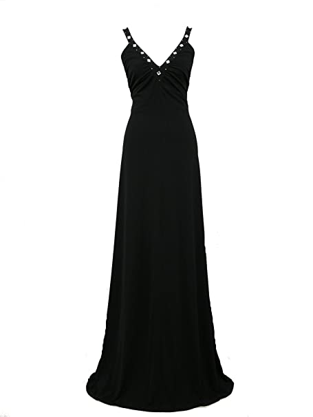 dress190 negro Grecian Cross Back Maxi Prom Boda Formal vestido de noche vestidos de novia negro