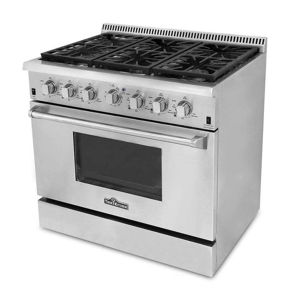 "Thor Kitchen Hrg3618U 36"" Pro-Style 6 Burner Stainless Steel Gas Range 6"