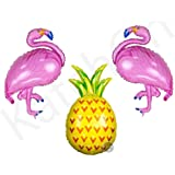 Flamingo and Pineapple Helium Balloon - Pack of 3   2 Flamingo balloon   1 Pineapple Balloon   Flamingo Party Supplies   Pineapple Party Decorations