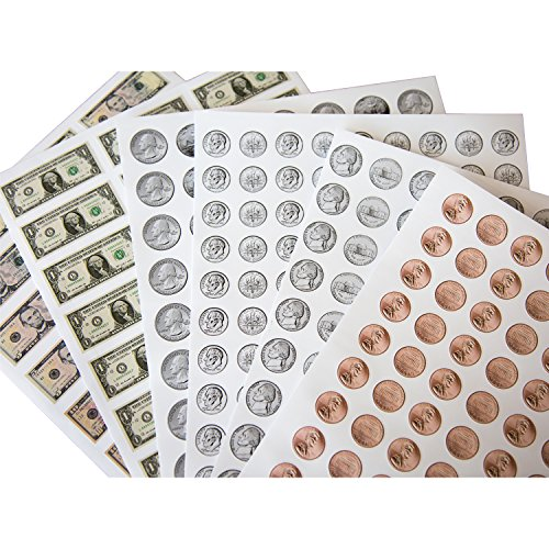 1038 Pieces U.S. Coin & Currency Stickers | For Classroom & Home Use | Extra Strong Adhesive | Realistic Size | 14 Total Sheets | By PureBloom - Set Coin Printed