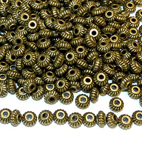 Pendant Jewelry Making Antiqued Bronze 6mm Twisted Rope Corrugated Rimmed Rondelle Beads 100pc