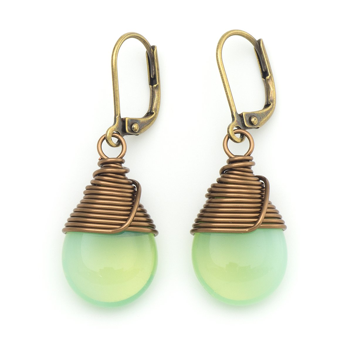 Milky green Czech glass wire-wrapped drop antique bronze tone lever-back earrings