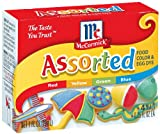 McCormick Food Colors & Egg Dye, Four Assorted, 0.25-Ounce Vials (Pack of 6)