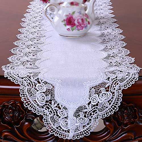 - FASHSEX Dresser Scarf ROYAL ROSE European Lace White Table Runner 65 By 12 Inch Doily