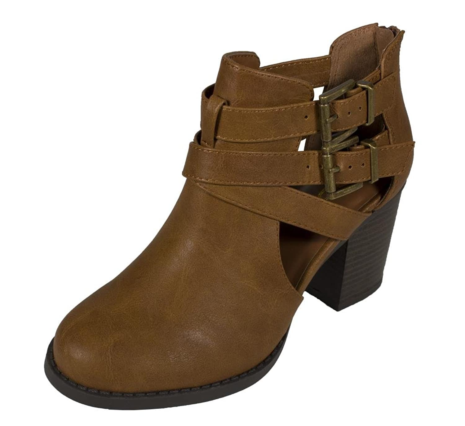 Soda Women's Cutout Sides Buckles Straps Ankle Boots | Ankle & Bootie