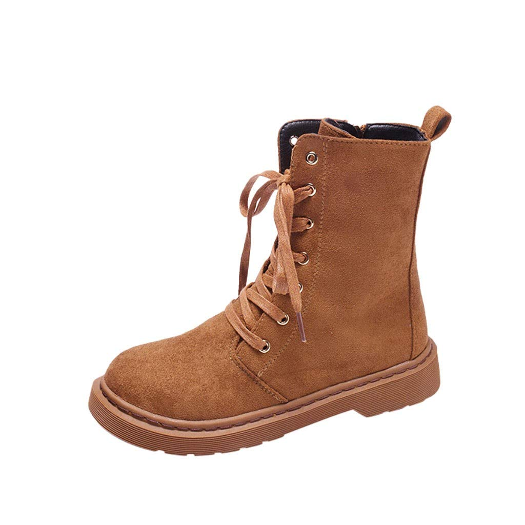 Women Faux Suede Combat Boots | Ladies Fashion Comfortable Lace Up Round Toe Riding Boot | Casual Slip Resistant Ankle Boots with Side Zipper by Leadmall-Boot