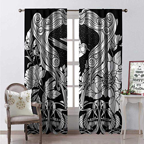 Hengshu Art Nouveau Blackout Window Curtain Antique Bird Ornaments at Night Leaves Wild Flowers Illustration Customized Curtains W108 x L108 Charcoal Grey and White Dallas Cowboys Art Glass Ornament