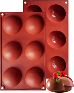 Large 6-Cavity Half Sphere Silicone Mold, Baking Mold for Making Hot Chocolate Bomb, Cake, Jelly, Dome Mousse (2 PACK, Chocolate)