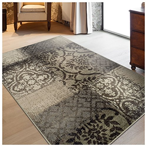 10' Grey Patch (Superior Bristol Collection Area Rug, 8mm Pile Height with Jute Backing, Chic Geometric Damask Patchwork Design, Fashionable and Affordable Woven Rugs - 8' x 10' Rug, Beige & Brown)