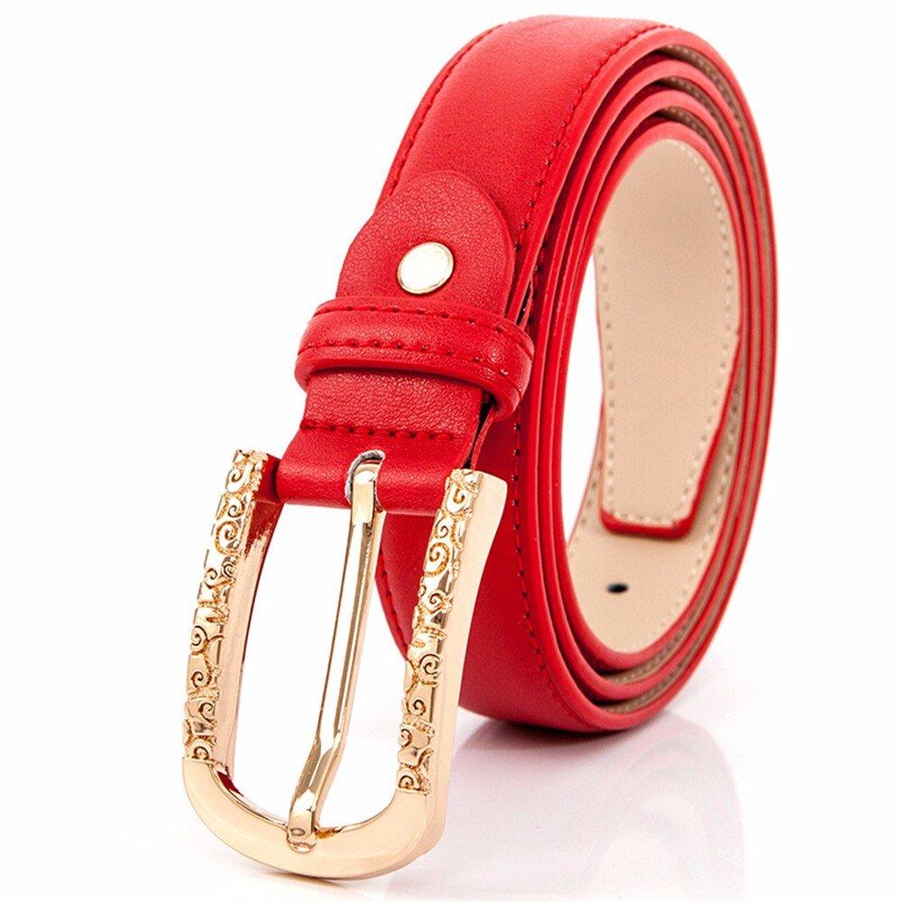 SAIBANGZI Ms Women All Seasons Belt Needle Buckle Belt Fine Decorative Jeans Belt Fashion Minimalist Boom Women'S Belts Girlfriend Present Red 80-90Cm