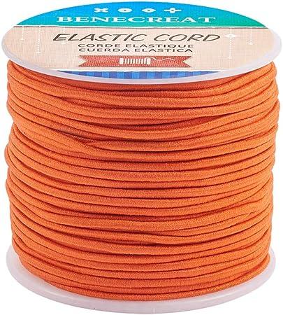 Imagen deBENECREAT 50m 2mm Cordón Elástico Hilo de Nylon de Rebordear Tela Hilo para Cuentas Pelo y Manualidad Naranja Oscuro