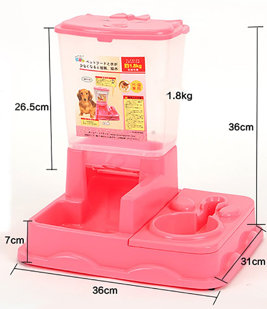 MaruPet Dual Port Pet Dog Cat Bowl,Removable pet Food Water Feeder with Automatic Feeder Dispenser Meal Tray Animal Water Bottle Food Bowl Portion Control Pink