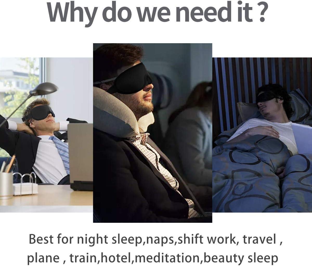 Eye Mask for Sleeping,Sleep Mask for Women /& Men,Sleeping Mask,Silk Eye mask,Block Out Light 100/% Eye Shade Cover,Travel//Naps//Yoga//Plane//Night,Black
