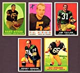 Green Bay Packers (5) Card Reprint Lot featuring 1958 Bart Starr, 1959 Paul Hornung, 1961 Jim Taylor, 1961 Henry Jordan Rookie, 1963 Ray Nitschke Rookie