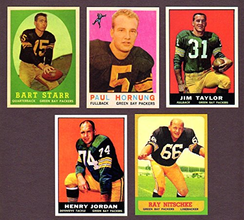 Green Bay Packers (5) Card Reprint Lot featuring 1958 Bart Starr, 1959 Paul Hornung, 1961 Jim Taylor, 1961 Henry Jordan Rookie, 1963 Ray Nitschke Rookie ()