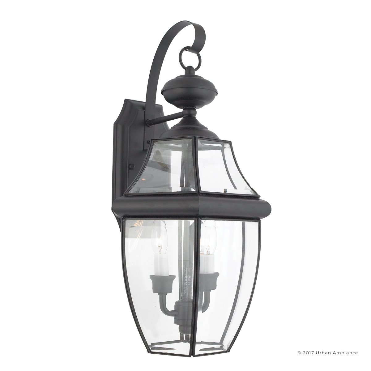 Luxury Colonial Outdoor Wall Light, Large Size: 20''H x 10.5''W, with Tudor Style Elements, Versatile Design, High-End Black Silk Finish and Beveled Glass, UQL1144 by Urban Ambiance