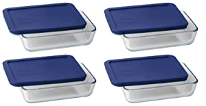 Pyrex 3 Cup Storage Plus Rectangular Dish With Plastic Cover (4)