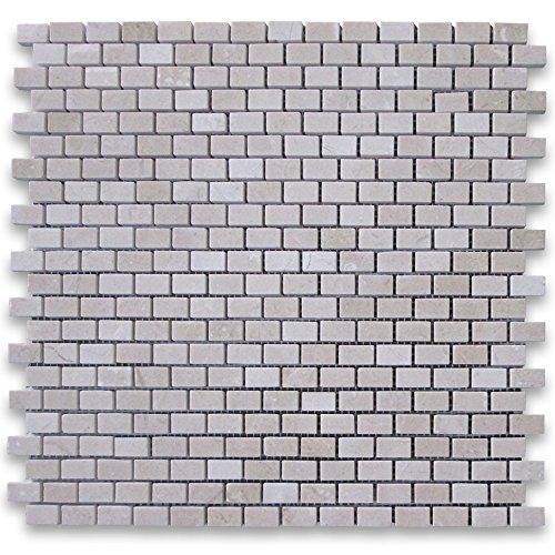 Crema Marfil Spanish Marble 5/8x3/4 Mini Brick Mosaic Tile Polished -