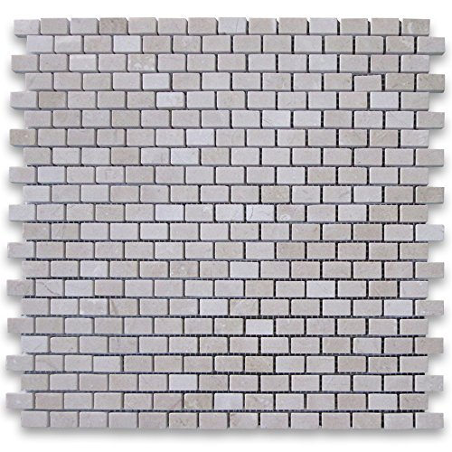 Beige Mosaic Tile Flooring - Crema Marfil Spanish Marble 5/8x3/4 Mini Brick Mosaic Tile Polished