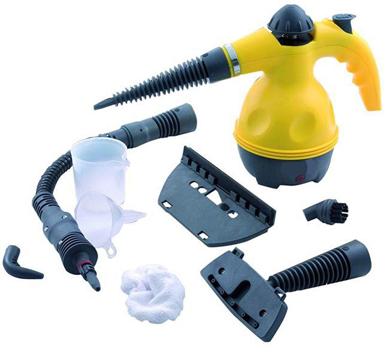 Euro novità Vaporetto pulitore Portatile Macchina pulitrice a Vapore elettrica con 9 Accessori Inclusi, Giallo, Potenza 1050W Euro novità EN-222623