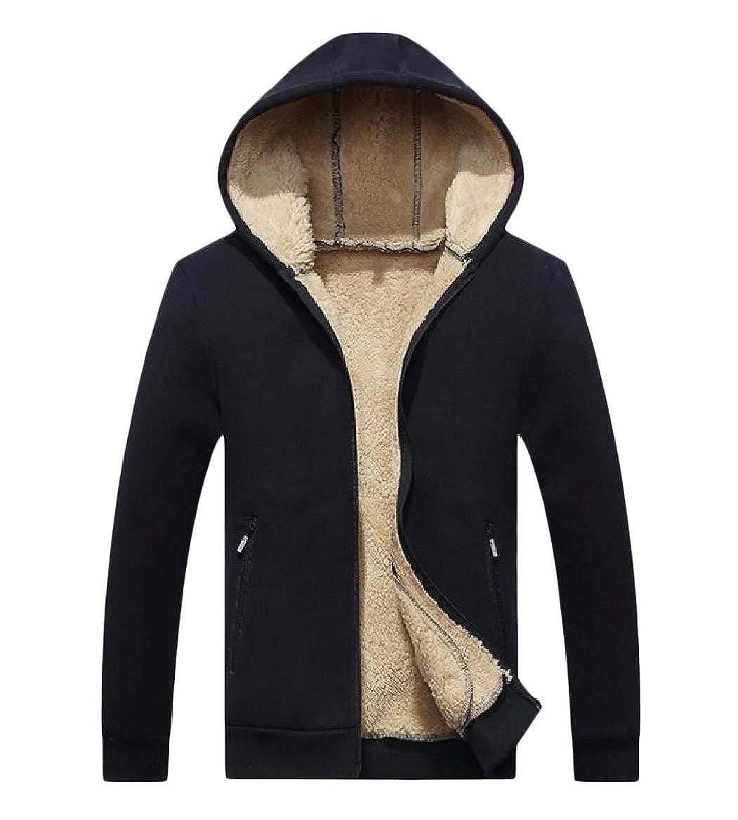 YUNY Mens Athletic Jogging Slim Fit Thickened Jacket Coat Sweatshirt Black S