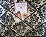 quilted picture board - The French Memo Board-a Creative Display for Photos, Mementos, Greeting Cards and Much More-Contemporary -Black and Cream Damask- Factory Sealed