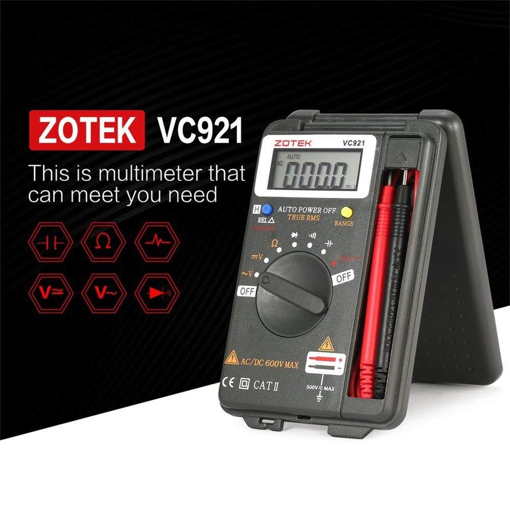 Binghotfire ZOTEK VC921 4000 compteurs Multim/ètre num/érique /à Plage Automatique Tension DC//AC de Poche Gris fonc/é