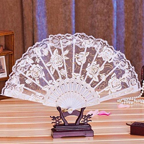 Binmer(TM) Multi-color Dance Party Wedding Lace Flower Folding Hand Held Flower Fan Chinese Fans (White)