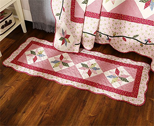 Newrara Fine Cotton Washable American Country Style Patchwork Quilt Bedspread Bed Coverlets Cover Set Queen Size 3pcs (Carpet, Red)