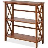 Tangkula 3-Tier Bookcase and Bookshelf, Wooden Open Shelf Bookcase, X-Design Etagere Bookshelf for Home Living Room…